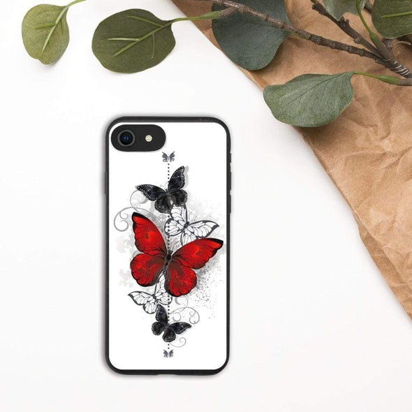 Audrey & Irene  Eco Phone Cover iPhone 7/8/SE Butterflies Tattoo Biodegradable phone case