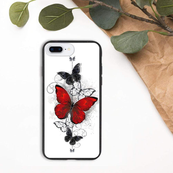 Audrey & Irene  Eco Phone Cover iPhone 7 Plus/8 Plus Butterflies Tattoo Biodegradable phone case