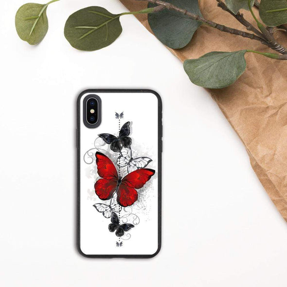 Audrey & Irene  Eco Phone Cover iPhone X/XS Butterflies Tattoo Biodegradable phone case