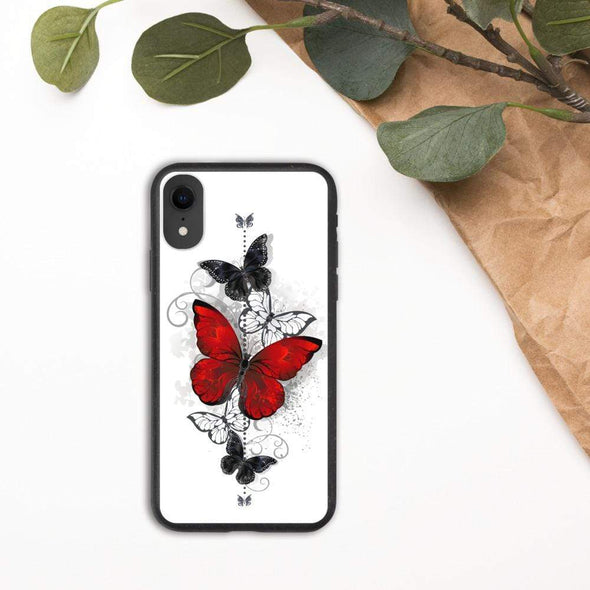 Audrey & Irene  Eco Phone Cover iPhone XR Butterflies Tattoo Biodegradable phone case
