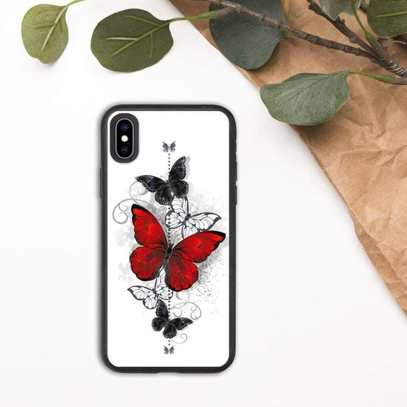 Audrey & Irene  Eco Phone Cover iPhone XS Max Butterflies Tattoo Biodegradable phone case