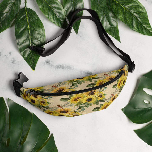 Audrey & Irene  Fanny Pack S/M Sunflowers and Dragonflies Fanny Pack
