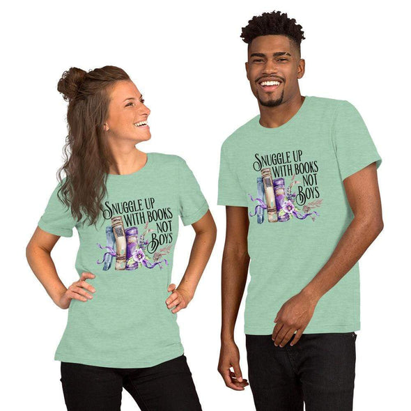 Audrey & Irene  Heather Prism Mint / S Snuggle With Books Not Boys Short-Sleeve Unisex T-Shirt