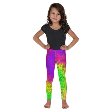 Audrey & Irene  Kids Leggings 2T Peace Signs Rainbow Tie Dye Kid's Leggings