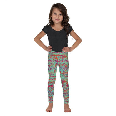 Audrey & Irene  Kids Leggings 2T Red & Turquoise Tribal Ethnic Kid's Leggings