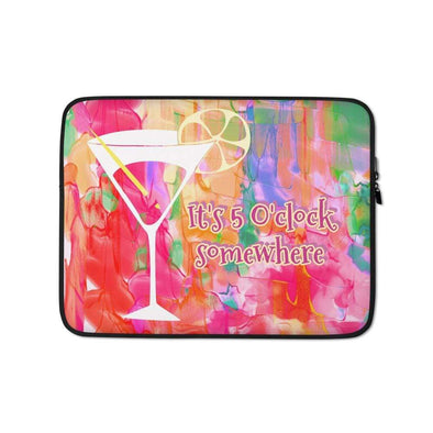 Audrey & Irene  Laptop 13 in Cocktails Abstract Watercolor Laptop Sleeve
