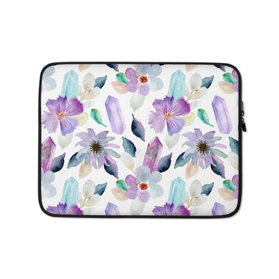 Audrey & Irene  Laptop 13 in Floral & Healing Crystals Laptop Sleeve