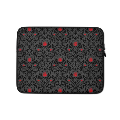 Audrey & Irene  Laptop 13 in Rose & Scroll Gothic Laptop Sleeve