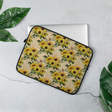 Audrey & Irene  Laptop 13 in Sunflowers and Dragonflies Laptop Sleeve