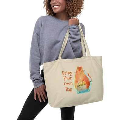 Audrey & Irene  Large Organic Tote Oyster Recycle Cat Bring Your Own Bag Large Organic Tote Bag
