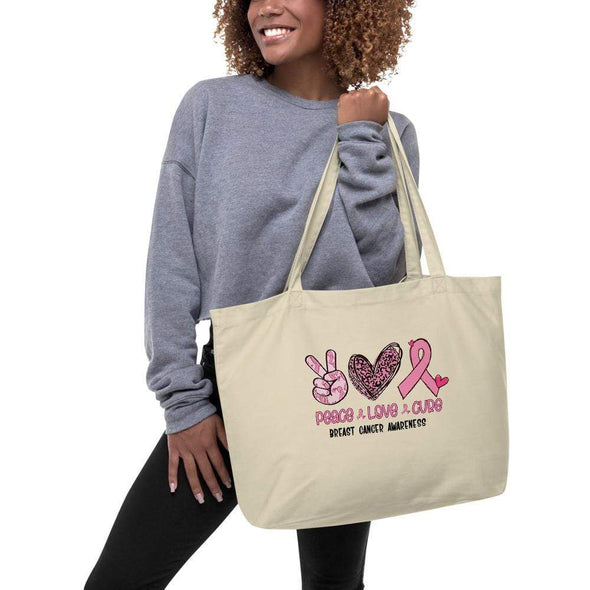 Audrey & Irene  Large Organic Tote Peace Love Cure Breast Cancer Awareness Large Organic Tote Bag