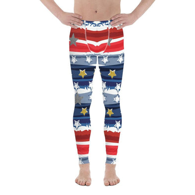 Audrey & Irene  Men's Leggings XS Patriotic Stars & Stripes Abstract Men's Yoga Pants Leggings