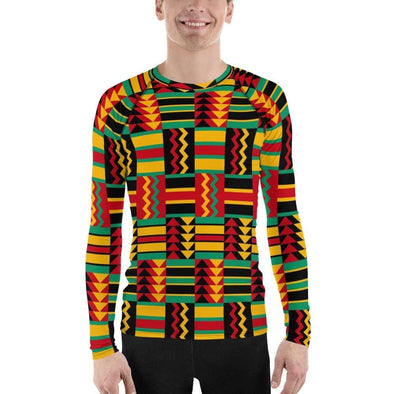 Audrey & Irene  Men's Rash Guard XS African Print Reggae Men's Rash Guard