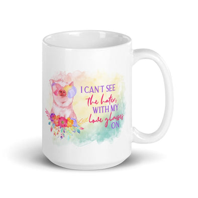 Audrey & Irene  Mugs Can't See The Haters With Love Glasses On Piggie Mug