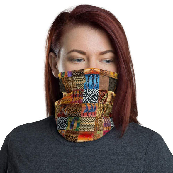 Audrey & Irene  Neck Gaiters African Print Neck Gaiter Scarf Face Shield Breathable Reusable