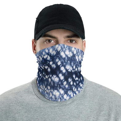 Audrey & Irene  Neck Gaiters Blue White Batik Tie Dye Neck Gaiter Scarf Face Shield Dust Shield Breathable Reusable