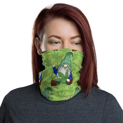 Audrey & Irene  Neck Gaiters Hippie Gnome Cannabis Leaf Neck Gaiter Scarf Face Shield Breathable Reusable