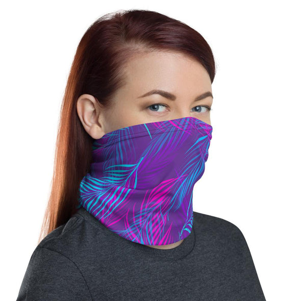 Audrey & Irene  Neck Gaiters Neon Tropical Leaves Neck Gaiter Scarf Face Shield Dust Shield Breathable Reusable