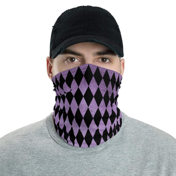 Audrey & Irene  Neck Gaiters Purple Harley Quinn Style Neck Gaiter Scarf Face Shield Breathable Reusable