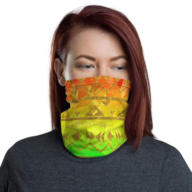 Audrey & Irene  Neck Gaiters Rainbow Aztec Neck Gaiter Scarf Face Shield Dust Shield Breathable Reusable