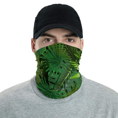 Audrey & Irene  Neck Gaiters Tropical Leaves Green Neck Gaiter Scarf Face Shield Dust Shield Breathable Reusable