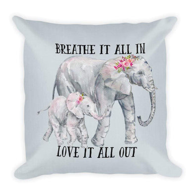 Audrey & Irene  Pillow Elephant Yoga Meditation Quote Zen Decorative Throw Pillow, Just Breathe