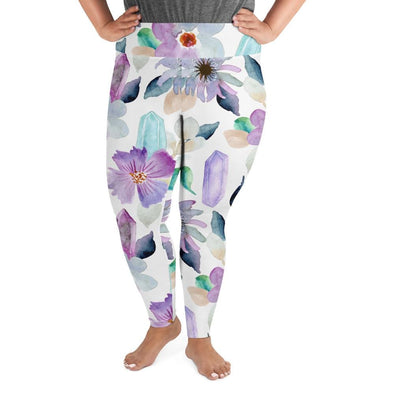 Audrey & Irene  Plus Size Leggings 2XL Flowers & Crystals Plus Size Leggings