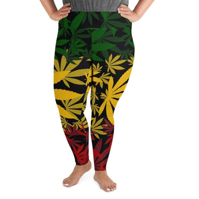 Audrey & Irene  Plus Size Leggings 2XL Reggae Cannabis Leaf Rasta MJ Plus Size Leggings