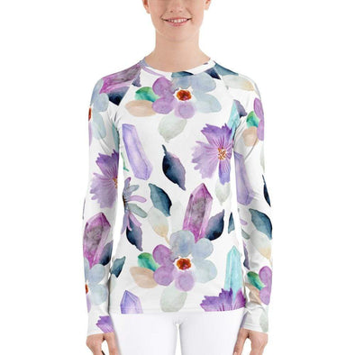 Audrey & Irene  Rash Guard XS Flowers & Crystals Women's Rash Guard