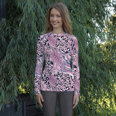 Audrey & Irene  Rash Guard XS Pink Abstract Animal Print Women's Rash Guard