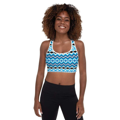 Audrey & Irene  Sports Bra White / XS Blue Black Ethnic Padded Sports Bra