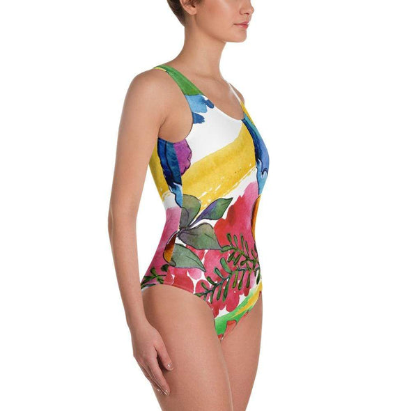 Audrey & Irene  Swimsuit Ladies Tropical Floral Abstract Watercolor One-Piece Swimsuit