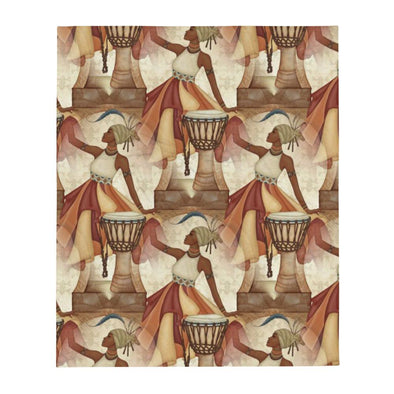 Audrey & Irene  Throw African Queen Print With Drums Throw Blanket