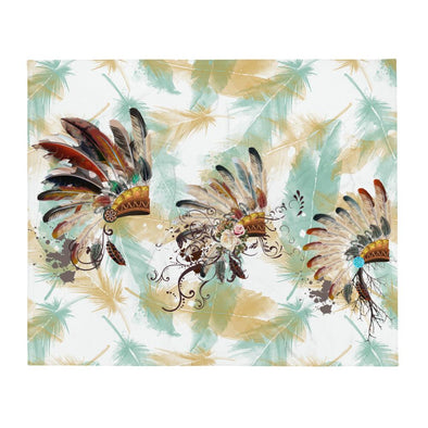 Audrey & Irene  Throw Indian Headdress Native American Proverb Throw Blanket