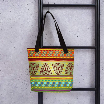 Audrey & Irene  Totes Black African Print with Masks Canvas Tote bag