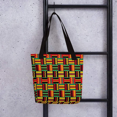 Audrey & Irene  Totes Black African Weave Print Red Gold Green Canvas Tote bag