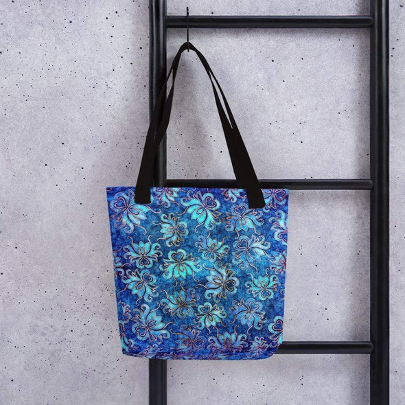 Audrey & Irene  Totes Black Blue Lotus Flower Grunge Canvas Tote bag