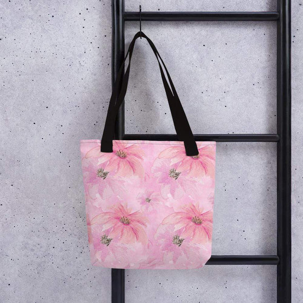 Audrey & Irene  Totes Black Pink Watercolor Floral Canvas Tote bag