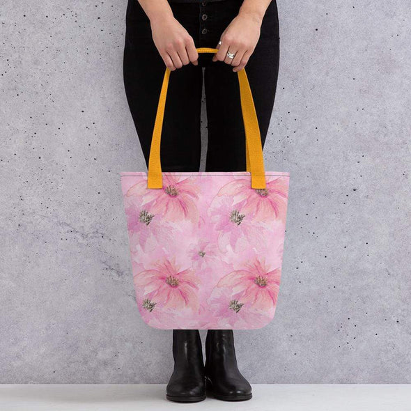 Audrey & Irene  Totes Yellow Pink Watercolor Floral Canvas Tote bag