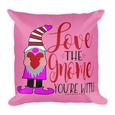 Audrey & Irene  Valentine's Day Gnome Love Pink Decorative Throw Pillow, Love The Gnome You're With