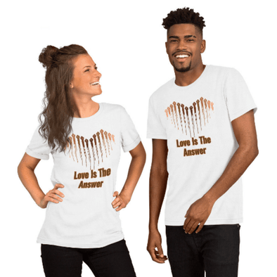 Audrey & Irene  Valentine's Day Love Is The Answer Unity Peace Humanity Unisex T-Shirt