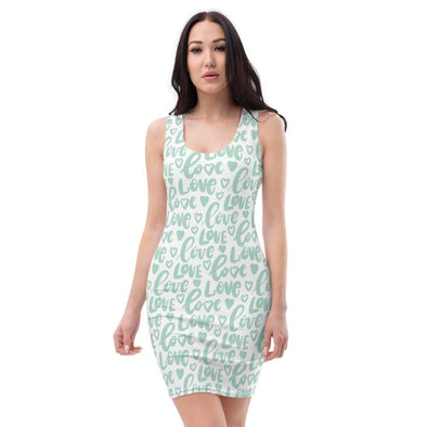 Audrey & Irene  Valentine's Day XS Mint Green Love Hearts Bodycon Fitted Party Dress