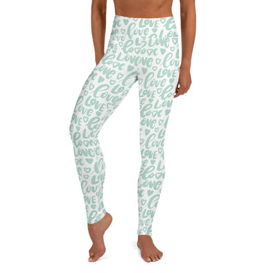 Audrey & Irene  Valentine's Day XS Mint Green Love Hearts Yoga Pants Leggings