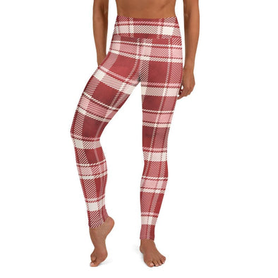 Audrey & Irene  Valentine's Day XS Pink Valentine Plaid Yoga Pants Leggings