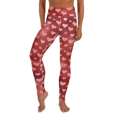 Audrey & Irene  Valentine's Day XS Red Iridescent Valentine Hearts Yoga Pants Leggings