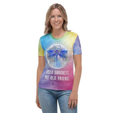 Audrey & Irene  XS Hello Darkness My Old Friend Dragonfly Moonlight Women's AOP T-shirt