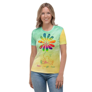Audrey & Irene  XS Live Laugh Love Hippie Peace Frog Women's AOP T-shirt