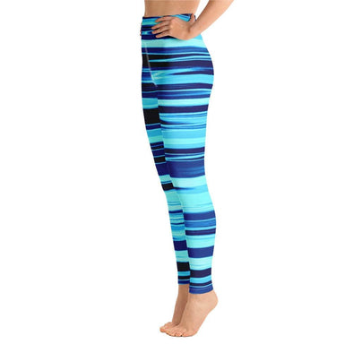 Audrey & Irene  Yoga Leggings Aqua Blue Striped Yoga Pants Leggings