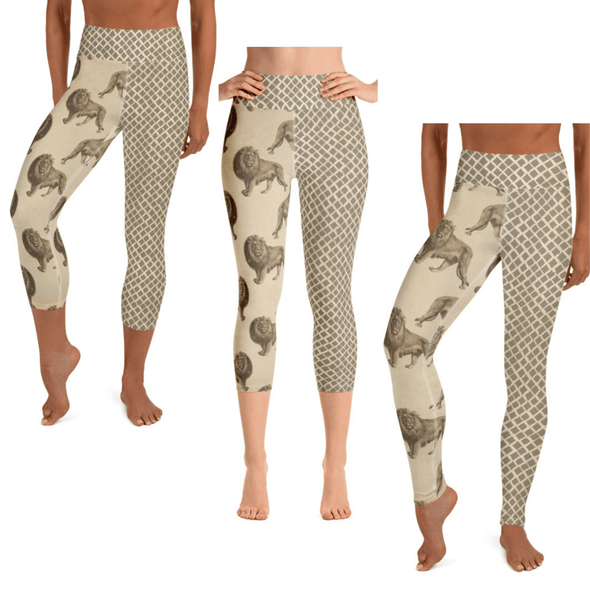 Audrey & Irene  Yoga Leggings Lion Wildlife Yoga Pants Capri Leggings