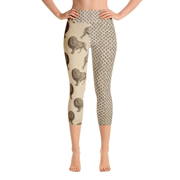 Audrey & Irene  Yoga Leggings M / Yoga Capris Lion Wildlife Yoga Pants Capri Leggings